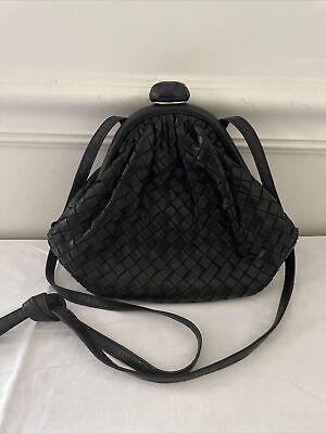 Vtg BOTTEGA VENETA Black Intrecciato Woven Nappa Leather Shoulder Crossbody Bag