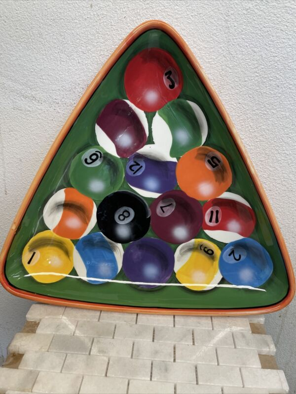 CUSTOM Painted POOL CUE RACK WITH CUE BALLS Painted
