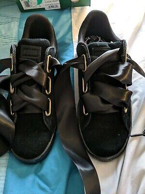 Puma black suede heart trainers size 6 BNIB