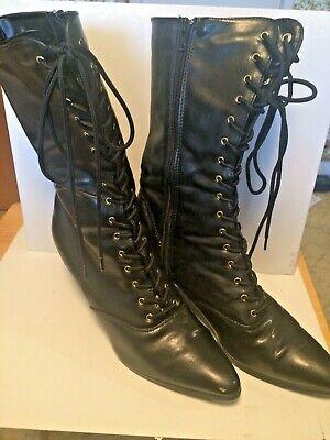 Funtasma VICTORIAN-120 Women's Black Mid Calf Kitten Heeled Boots Cosplay