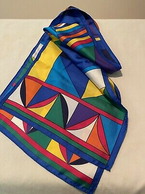 Vintage Scarf Styles -1920s to 1960s Long, Vibrant Blue & Multicolor Geometric Silk Scarf, Hand rolled, VTG 1970s $13.00 AT vintagedancer.com