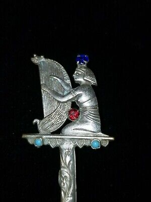 Vintage Egyptian Women Playing Harp with Gems & Turquoise Brooch Pendant -