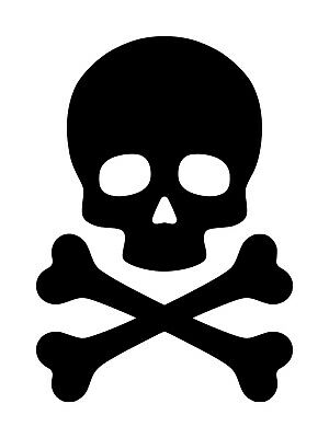 SKULL and CROSSBONES Vinyl Decal Sticker - Death's Head - Skeleton Poison Pirate - Skull And Crossbones Stickers