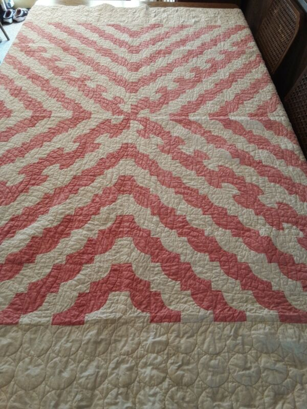"""Handquilted Pieced Pink and White Quilt 72"""" x 100"""""""