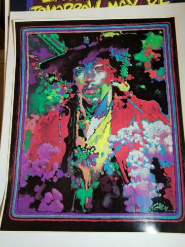 JIMI HENDRIX PSYCHEDELIC PORTRAIT 1970 VINTAGE POSTER ROCK & ROLL By Peter Green
