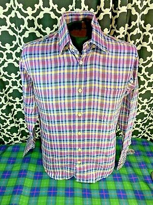 Robert Talbott Lavender Pink Yellow Brown Plaid LS Dress Shirt - Sz. M