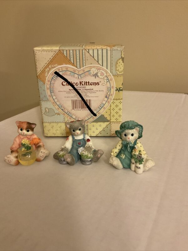 3-Miniature Calico Kittens By Enesco #204048  Spring Cats 1996