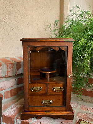 Antique English Tiger Oak w Glass Pipe Smoke Cabinet Game Card Box Humidor 1918