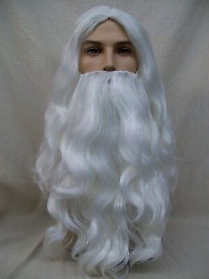 Mens Long Santa Claus Beard Wig Victorian Father Christmas St Nick Merlin Wizard (Victorian Wig)