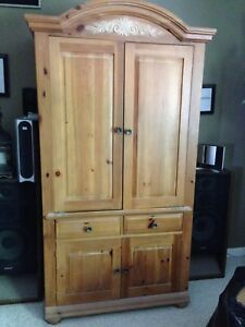 Oak TV Armoire Along With Television And Two Separate Technics Speakers