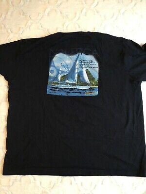 Nautica Men's Sz Large Navy Blue Boat Ship Sailing Graphic Back Short Sleeve Tee
