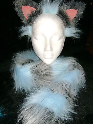 Gray Cat Ears And Tail (The Cheshire Cat Ears And Tail Fancy Dress Set Light Blue & Grey Fur One)