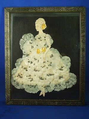 Framed Paper Doll with Pressed Fabric Flower Dress Collage Art Handmade Craft
