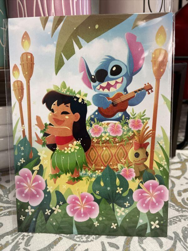 Disney Wonderground Gallery Lilo and Stitch Hula Time Postcard  June Kim New
