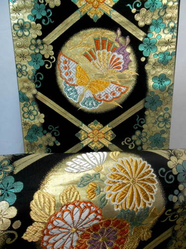 Japanese Kimono SILK Fukuro OBI, Rokutu ,Gold/Lame