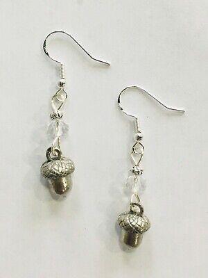Acorn Oak Tree Nature Earrings, FREE SHIPPING, sterling earwires