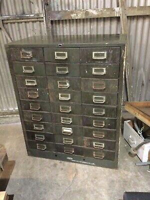 Cole-steel Cole Steel Vintage Metal Industrial 27 Drawer Metal Parts Cabinet