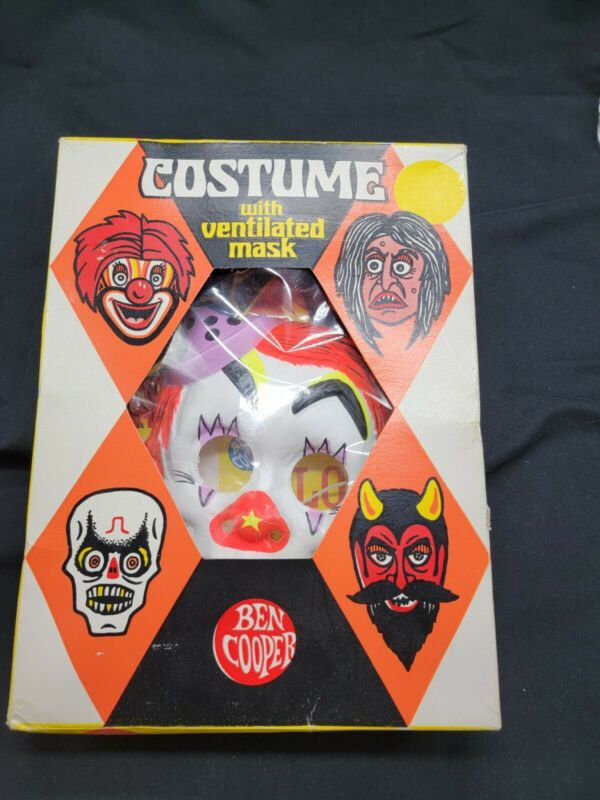 Vintage Ben Cooper Clown Halloween Costume 1973. Size large. NEVER WORN. Prop