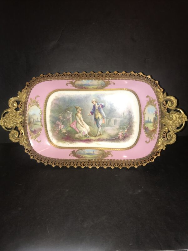 Fabulous Pink Antique Sevres porcelain centerpiece Bowl Bronze Mounts And Base