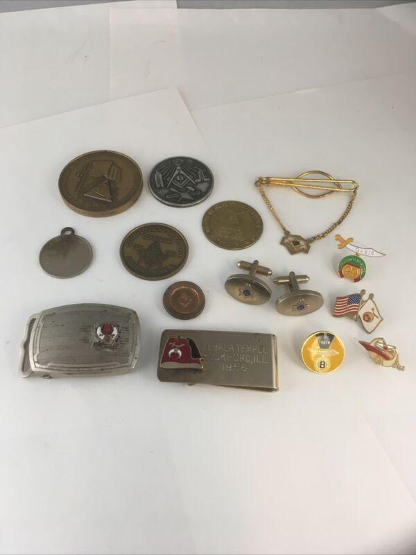 Lot Of Vintage Masonic Coins Cufflinks Tie Clip Money Clip Belt Buckle Pins