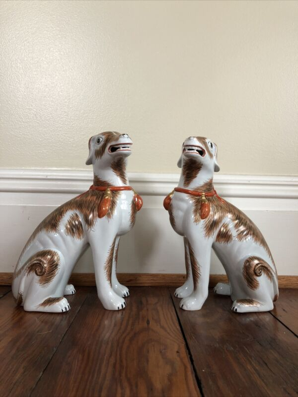"Rare Pair 1977  Mottahedeh Lowestoft 9 3/4"" Rockefeller Chinese Export  Dogs"