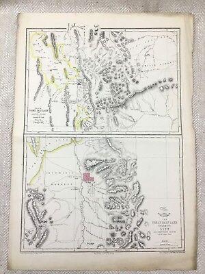 Antique Map Salt Lake City Utah United Sates of America 19th Century RARE