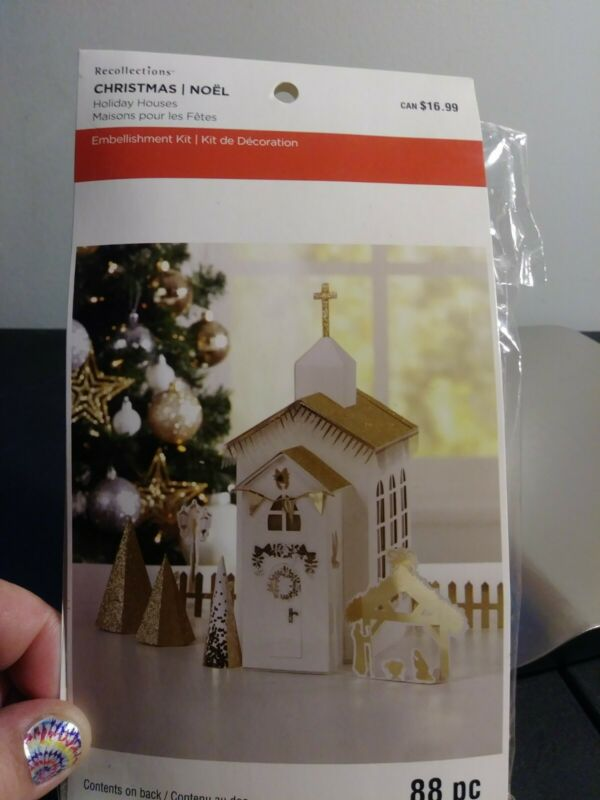 Recollections Christmas Holiday House Embellishment Kit Gold & White