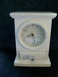 Vintage Wood Mantel/ Table Quartz Clock w Felt Linned Drawer White Floral Design