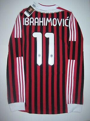 New 2011-2012 Adidas AC Milan Zlatan Ibrahimovic Kit Long Sleeve Shirt Jersey