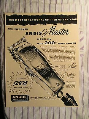 "Vintage Barbershop Andis Master ""Clipper Of The Year"" $28.95 Sign Ad"
