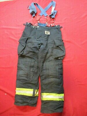 Morning Pride Fire Fighter Turnout Pants 38 X 32 Black Bunker Gear Suspenders