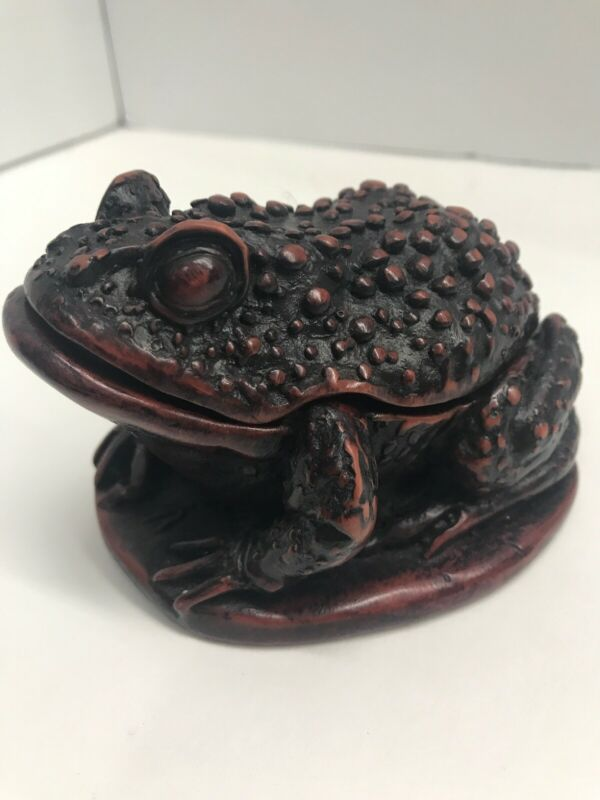 "Frog Sculpture Trinket Box Ironwood Thailand Figurine Vintage 4""tall x 3""wide"