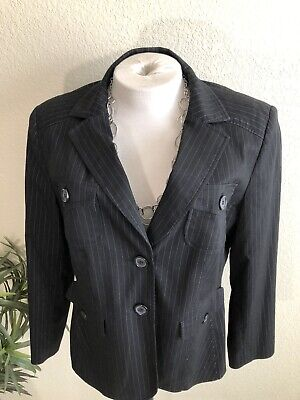 STYLE & CO Women's Black / Gray Pinstripes Lined Suit Jacket Blazer 16W EUC