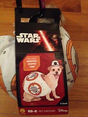 Star Wars BB-8 Dog Pet Costume X-Small XS Halloween NWT Disney 2 Piece