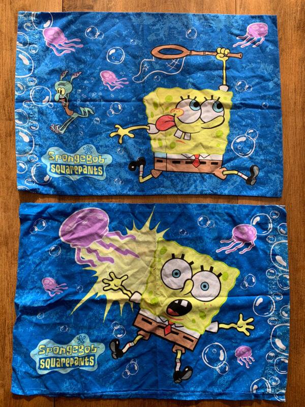 Vintage SpongeBob SquarePants Standard Size Pillow Case Set 2001 Nickelodeon EUC