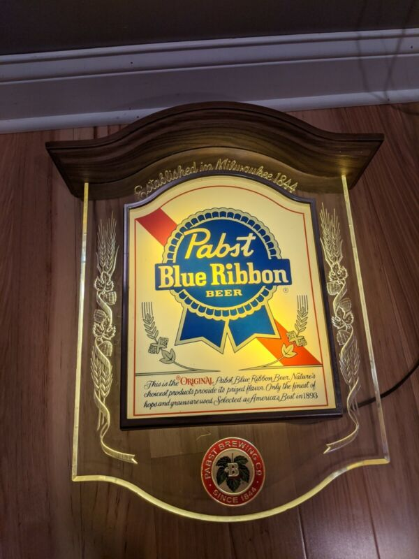 VINTAGE PABST BLUE RIBBON PBR BEER LIGHT SIGN CRYSTAL HERITAGE BACK BAR DISPLAY