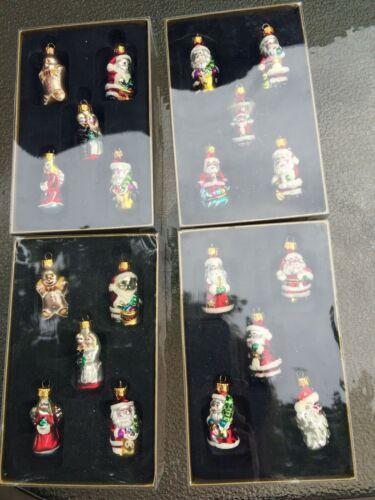 """Four Boxes Miniature Glass Ornaments- 20 Pcs.  Each 1 3/4"""" High - NIB"""