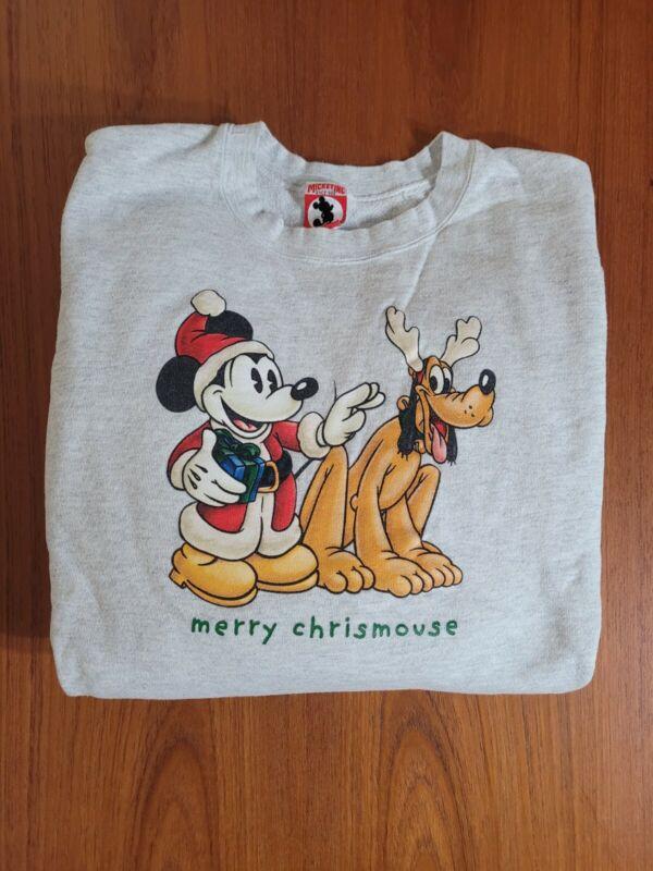 Vintage Walt Disney Mickey Inc MERRY CHRISMOUSE Christmas Sweatshirt Sweater XXL