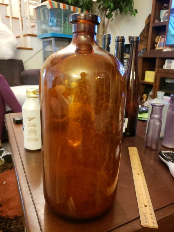 Antique Glass Bottle 1800s Brown Medicine Saline Water 14 inches tall