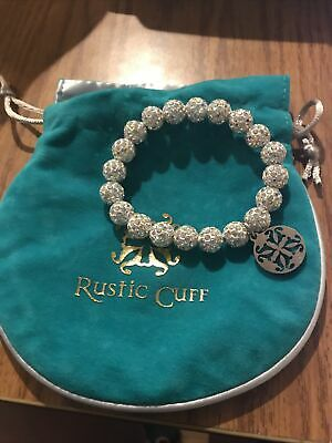 RUSTIC CUFF EMERSON WHITE ? BEADED BRACELET SPARKLY STRETCHY