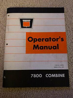 Oliver White 7800 Combine Operators Manual 1972 Farm Equipment
