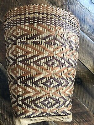 VINTAGE ANTIQUE WICKER WOVEN BASKET OPEN WEAVE Unique Mid Century- BOHO ()
