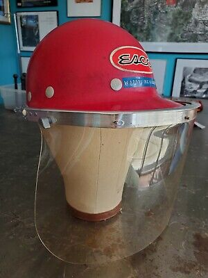 Vintage Superglas Fibre Metal Duck Bill Hard Hat Red W Rare Face Shield