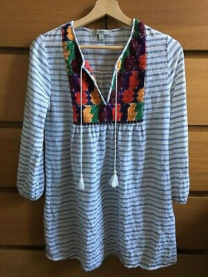 J Crew Embroidered Tunic Striped Cotton Tassel Summer Top Size XS