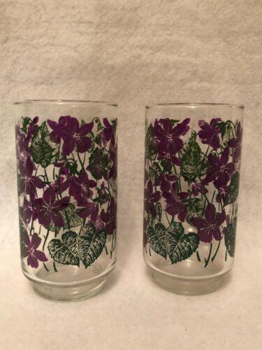 """Vintage Libbey Pair of Violet Juice Glasses 12 Ounces 5"""" High 1960"""