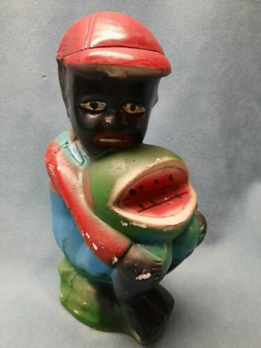 Vintage Americana BLACK BOY Watermelon Chalkware Carnival Statue Fair Prize