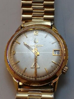vintage bulova accutron watch,1974 , gold electroplate bezel, water resistant N3