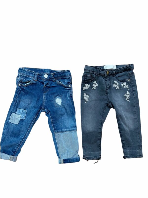 Zara Baby Girl 2 Pairs of Jeans Size 9-12 Months Distressed