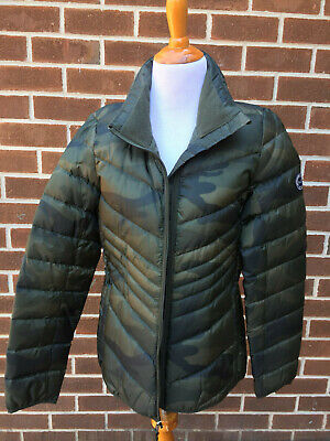 NWT NEW ABERCROMBIE & FITCH MEDIUM M CAMOUFLAGE PUFFER JACKET COAT WOMEN B