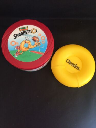 Spaghettios 1999 Travel thermal bowl - Cheerios snack container flip top lid